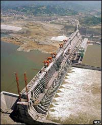 An aerial photograph of the dam project