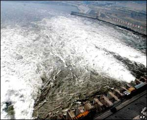 Water flows through holes at the bottom of the Three Gorges dam
