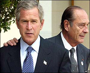US President George Bush and French President Jacques Chirac