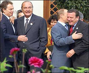 UK Prime Minister Tony Blair, French President Jacques Chirac, Russian President Vladimir Putin and German Chancellor Gerhard Schroeder