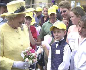The Queen chatting to children