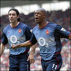 Robert Pires and Sylvain Wiltord celebrate Wiltoord's opener against Middlesbrough