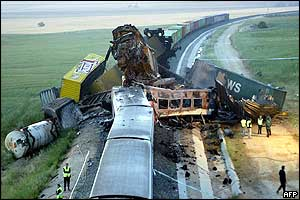 Wrecked carriages, 4 June 2003