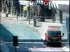 CCTV footage of the van containing the bomb
