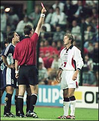 England midfielder David Beckham is sent off against Argentina in a second round match at the 1998 World Cup in France