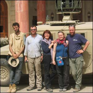 The Panorama team outside Saddam Hussein's Basra palace