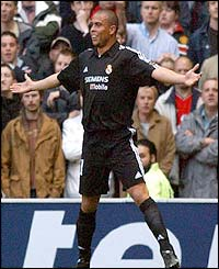 Ronaldo celebrates a goal for Real Madrid against Manchester United