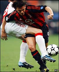 Filippo Inzaghi pushes forward for an early goal