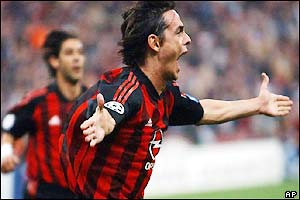 Inzaghi celebrates opening the scoring at the San Siro