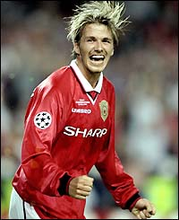 David Beckham celebrates Manchester United's victory in the 1999 Champions League final against Bayern Munich