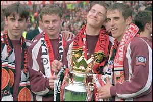 Gary Neville, Ole Gunnar Solksjaer, David Beckham and Phil Neville celebrate winning the Premiership title in 1997