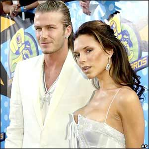 David and Victoria Beckham at an awards ceremony in Los Angeles in 2003