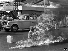 Buddhist Monk Quang Duc set himself alight in 1963