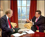 Gordon Brown talking to David Frost
