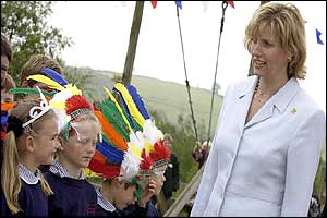 The Countess of Wessex meets children from St Christopher's school, Staverton during her visit to Pennywell Farm
