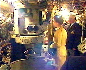 The Princess Royal inside a submarine