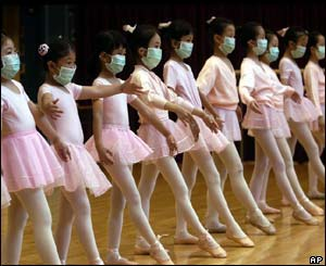 Children at a ballet class in Hong Kong