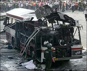 Bus destroyed by suicide bomb