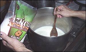 Preparación de dulce de leche