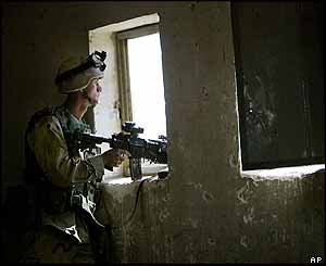 US soldier on guard in Falluja