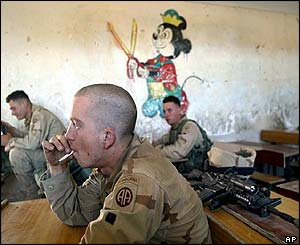 US troops inside Falluja primary school