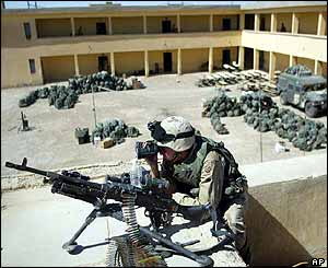 US soldier atop Falluja primary school