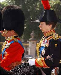 Princess Anne on horseback in Horseguards Parade