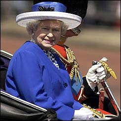 Queen, with Duke of Edinburgh behind