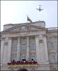 The flypast formation included Tornado and Jaguar fighter jets, a VC-10 and a C-17 Globemaster