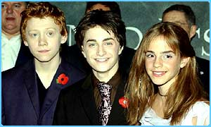 Daniel Radcliffe with Potter co-stars Rupert Grint and Emma Watson