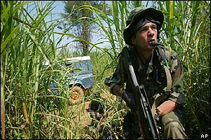 Soldier in the reeds searches for attackers