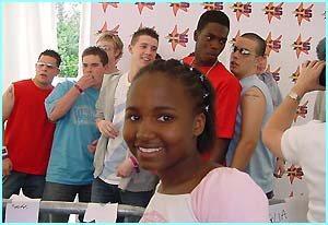 Njoki got backstage just in time to see the lads from Blazin' Squad before they were gone.