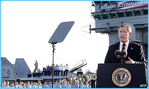 George Bush made the speech on board an aircraft carrier