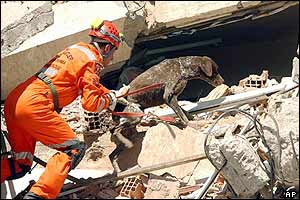 A rescue worker at the collapsed school