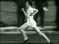 Roger Bannister completing his run