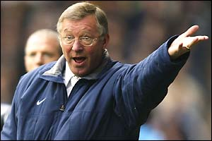 Sir Alex Feguson lambasts his players during the 3-1 defeat at Maine Road