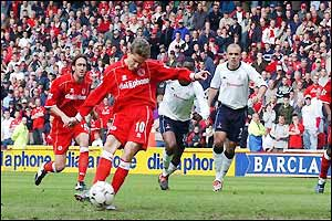 Juninho scores from the spot to add Boro's second only two minutes later