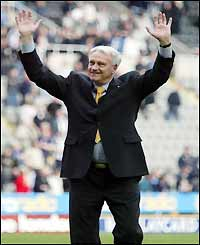 Robson salutes the crowd after the match