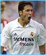 Raul wears the number seven shirt for Real Madrid