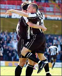 Grimsby's Michael Keane celebrates his goal in a meaningless game for the already-relegated side