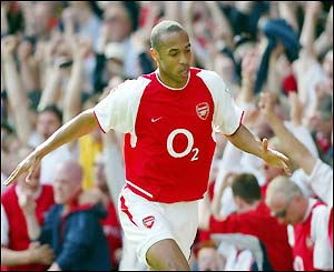 Thierry Henry celebrates his equaliser