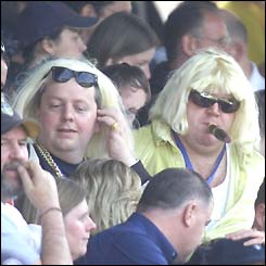 Leeds fans wearing blonde wigs