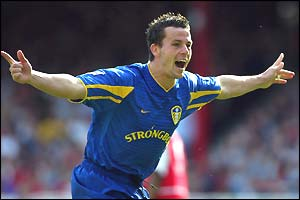Ian Harte celebrates putting Leeds back in front