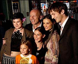 Bruce Willis and Demi Moore with their family and actor Ashton Kutcher