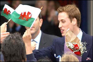 Welsh dragons greet Prince William on his arrival in Bangor