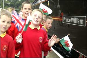 Children at Bangor greet Prince Charles and Prince William