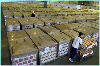 Thousands of copies of Order of the Phoenix are being sent out from this massive warehouse of an internet book seller