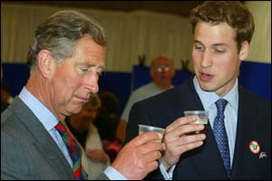 Prince Charles and Prince William sample beer at the food fair