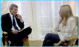 JK Rowling with interviewer, Newsnight's Jeremy Paxman