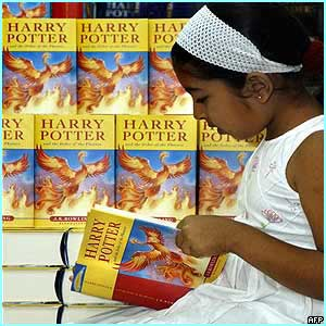 India: Eight-year-old Tanvi Naidu reads her copy in a book shop in Bangalore